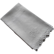 SOLD Monogram K Towel Antique Linen Whitework Embroidery Dots Scallops