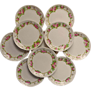 SOLD Roses Butter Pats Antique China Austria Set 10 Pink Green White