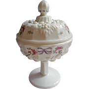 Bows Roses Milk Glass Pedestal Candy Dish Westmoreland Grape Vintage