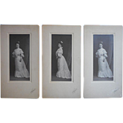 Antique Photographs 3 Same Woman 1904 Two Poses Fancy Dress
