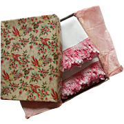 SOLD Pillowcases Pink Crocheted Lace Vintage Paper Gift Box Birds Turquoise