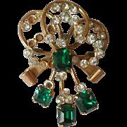 Green Rhinestones Pin Pendant Vintage TLC