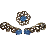 Art Deco Set 3 Rhinestone Glass Star Sapphire Pin Pins Light Blue