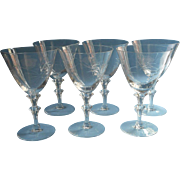 Water Wine Glasses Stemware Vintage Engraved Set 6
