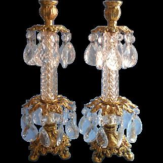 Pair Candlesticks Vintage Gilt Crystal Prisms Hollywood Regency Ornate