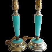 Aqua Lamps Vintage circa 1960 Pair TLC Plastic Metal