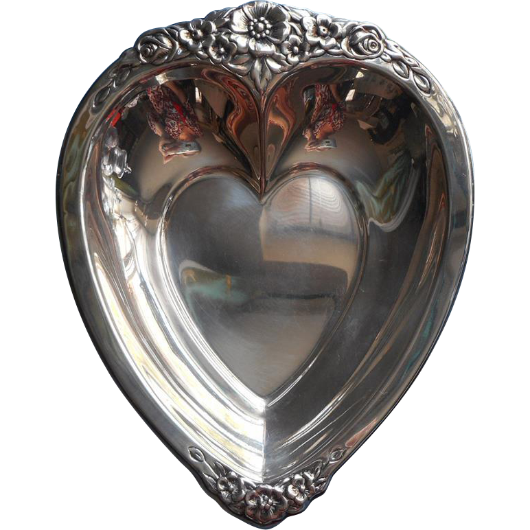 Silver heart shape dish candy nuts w flowers vintage from for Heart shaped jewelry dish