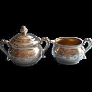 Victorian Silver Creamer Sugar Bowl Antique Van Bergh Beaded Rim
