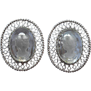 Whiting And Davis Glass Intaglio Earrings Vintage Silver Tone Metal