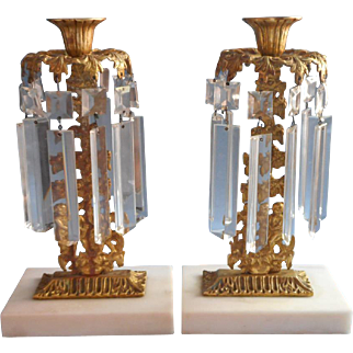 Cherubs Girandoles Pair Antique Gilt Marble Prisms Candlesticks Victorian