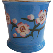 Victorian Mug Bright Blue Antique China Pink Apple Cherry Blossoms