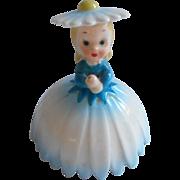 Napco Flower Girl Figurine No Umbrella Vintage China Blue