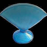 Fenton Celeste Blue Stretch Glass Fan Vase Vintage 1920s Optic Rib