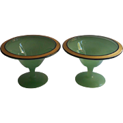 1920s Glass Pair Pedestal Dishes green Gold Black Sherbet Fruit Vanity