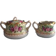 Nippon Era Creamer Sugar Bowl Set Hand Painted China Roses Pink Green