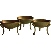 SOLD 1920s or 30s Chinese Brass 3 Legged Dishes China Vintage