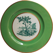 Black Knight China Bread Plate Vintage Green Border Pastoral Scenic