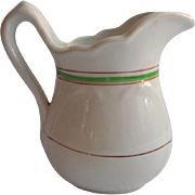 SOLD Ironstone Cream Pitcher Green Deep Pink Stripes Antique China