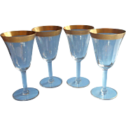 SOLD Tiffin Rambler Rose 4 Gold Encrusted Rim Wine Glasses Vintage