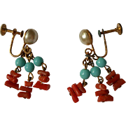 Coral Glass Pearls Turquoise glass Beads Earrings Vintage 1940s Dangle
