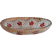 EAPG Indiana Flower Medallion Glass Cranberry Ruby Stain Gold Relish Dish