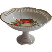 Fruit China Pedestal Compote Bowl Reticulated Bolted Vintage