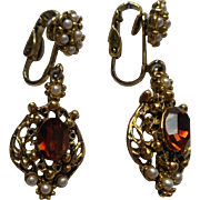 Vintage Drop Earrings Ornate Victorian Revival Style Faux Citrine Pearls