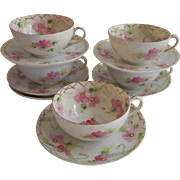 1910s to 1920s Nippon 5 Cups Saucers Pink Green Hand Painted