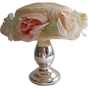 1960s Hat Taupe Pink Roses Faux Straw