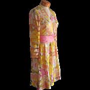 Silk Dress Vintage ca 1968 Pink Yellow Print Chiffon Stripe