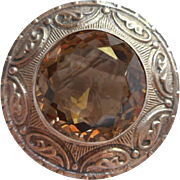Irish Dublin Sterling Silver Brooch Antique Smoky Quartz Pin