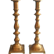 Classic Tall Brass Candlesticks Vintage Pair Mellow Patina