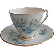 Blue Orchids Bone China Cup saucer Vintage Colclough English