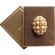 Avon Perfume Compact Poison Ring Faux Pearls Original Box