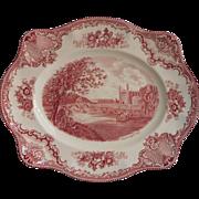 Pink Old Britain Castles Johnson Brothers England Platter Vintage