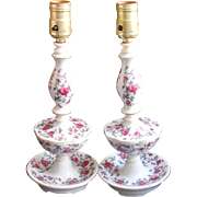 Pair Lamps Vintage China Pink Roses Boudoir Vanity Bed Table