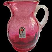 Cranberry Glass Vintage Pilgrim Mini Pitcher Vintage Original Label