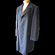 Men's Black Cashmere Top Coat Vintage Heavy  Classic