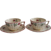 American Limoges Old Dutch China Vintage 2 Cups 2 Saucers