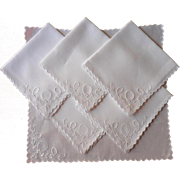 Tea Napkins Linen Cutwork Antique Hand Embroidery TLC