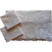 SOLD Madeira Sheet Pillowcases Vintage Lavish Hand Embroidery Cutwork