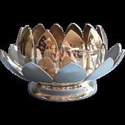 SALE PENDING Silver Lotus Flower Vase Frog Bowl Vintage Reed Barton Flower Arranger