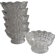 SOLD Dessert Berry Bowls Set 6 Antique Pressed Glass Pedestal Footed