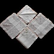 4 Fine Hankies Unused 1940s Linen  Original Labels
