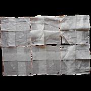 6 Fine Hankies Unused 1940s Linen Appliqued Hemstitching  Original Labels