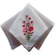 SOLD Hankie Vintage Hand Embroidered Pink Carnations