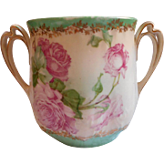 Antique China Pink Roses Green White Condensed Milk Holder