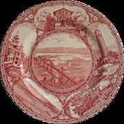 San Francisco Souvenir Plate Vintage Adams Pink Staffordshire Transferware