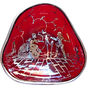 SOLD Silver Overlay Art Deco Red Glass Vintage Nut Dish Harlequin Court Lady Costume Ball