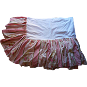 SOLD Wallpaper Print Bed Skirt Pink Green Vintage Pure Cotton Neiman Marcus